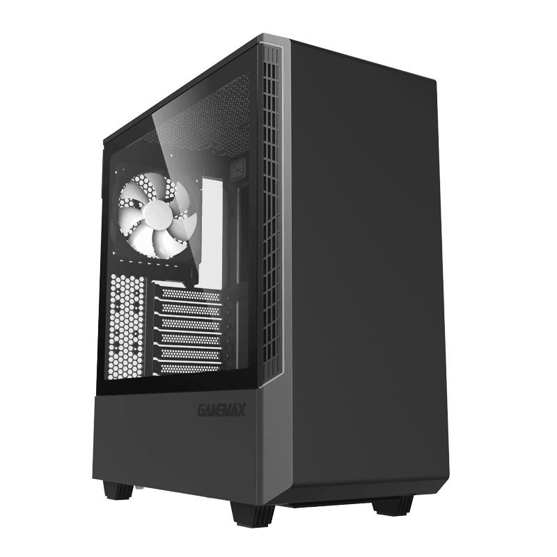 Корпус ПК без БП GameMax Panda ECO T802E <1x120mm Black Fan,Midi-Tower, window, tempered glass, RGB>