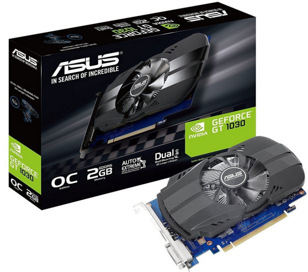 Видеокарта Asus PCI-E NV PH-GT1030-O2G <2Gb GDDR5, HDMI, DVI, 64bit, OC Phoenix>