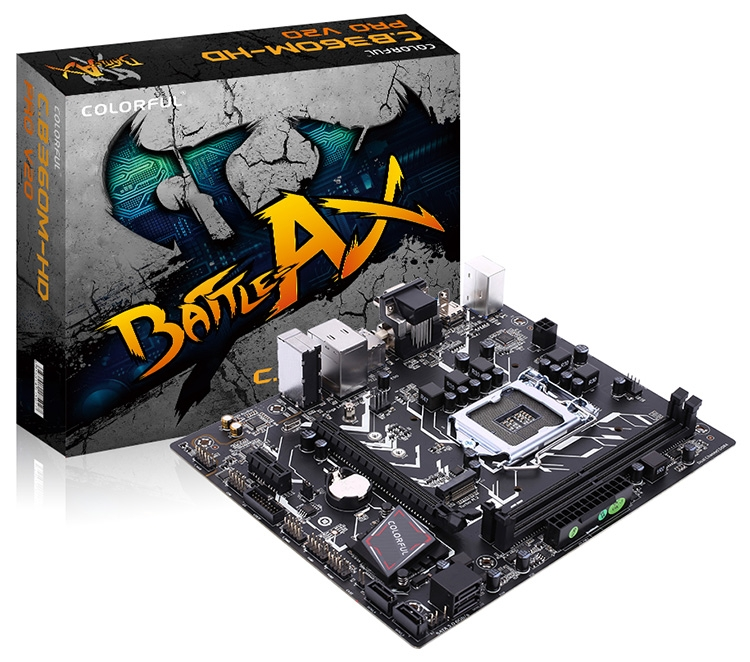 Материнская плата S-1151 B360 Colorful Battle Axe C.B360M-HD PRO <2xDDR4, mATX, HDMI, DVI, VGA>