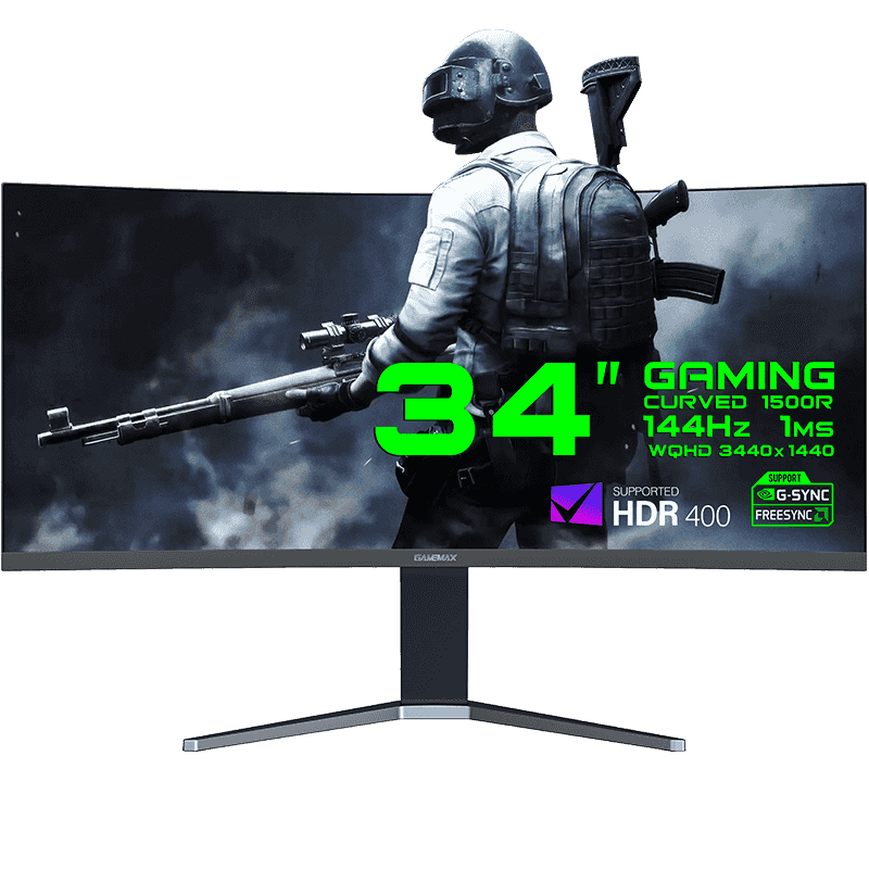 "Монитор ЖК 34"" GameMax GMX34CKXQ UltraWide QHD 21:9 <144Hz, 1ms, HDR400, 2*DP, 2*HDMI, 4*USB>"