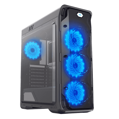 Корпус ПК без БП GameMax StarLight Black Blue <ATX, 4x120, USB3.0x1 USB2.0x2, HDAudio 205x470x440mm>