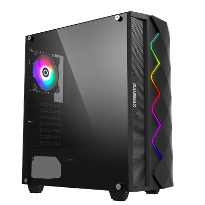Корпус ПК без БП GameMax Diamond Black <ATX, 1x120mmARGB, USB2.0x1, USB3.0x1, HD Audio, 421x210x460>